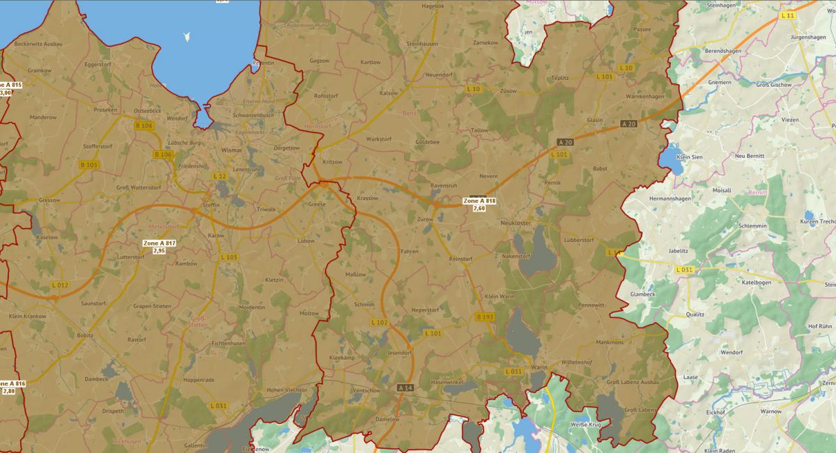 Bodenrichtwertkarte Ackerland 2017 Landkreis Nordwestmecklenburg