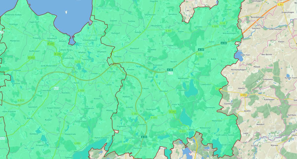 Bodenrichtwertkarte Forstflächen 2017 Landkreis Nordwestmecklenburg