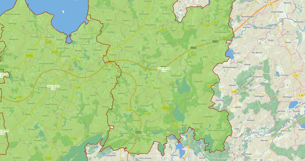 Bodenrichtwertkarte Grünland 2017 Landkreis Nordwestmecklenburg